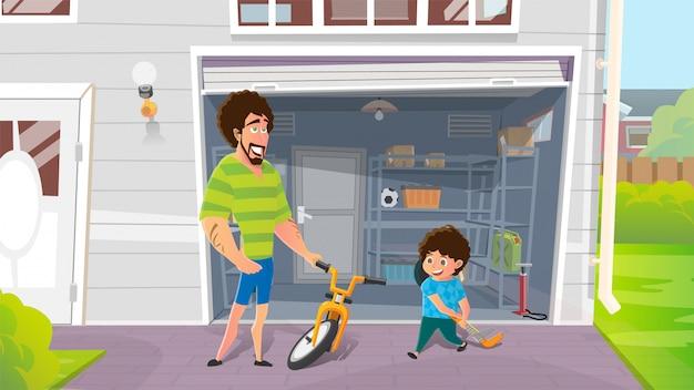 Ragazzo con i padri che riparano bicicletta rotta