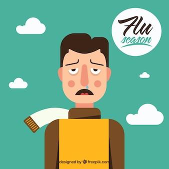 Ragazzo con i sintomi del raffreddore
