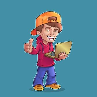Ragazzo con il portatile