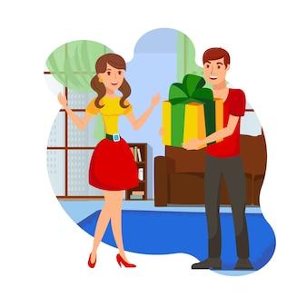 Ragazzo con il regalo per l'illustrazione di vettore dell'innamorato
