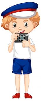 Ragazzo con la macchina fotografica su fondo bianco