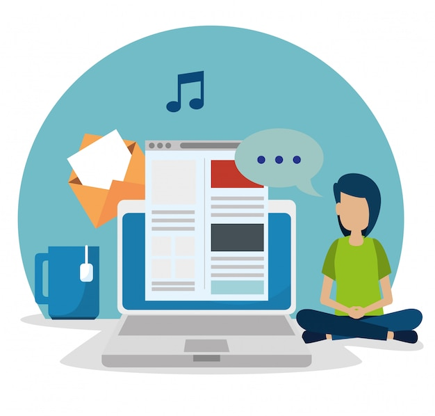 Ragazzo con laptop e sito web social media