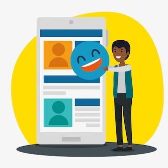 Ragazzo con smartphone e profilo chat con emoji