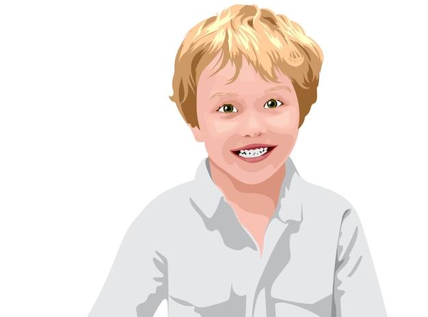 Ragazzo dai capelli biondo con gli occhi verdi in camicia bianca sorridente