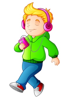 Ragazzo del fumetto che cammina e che ascolta il lettore musicale