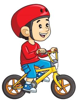 Ragazzo del fumetto che guida una bicicletta