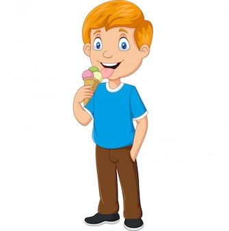 Ragazzo del fumetto che mangia il gelato