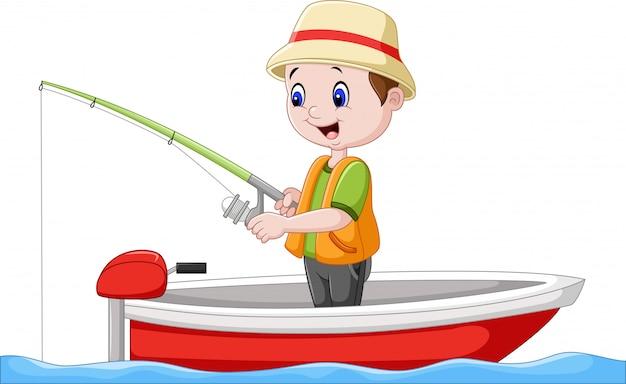 Ragazzo del fumetto che pesca su una barca