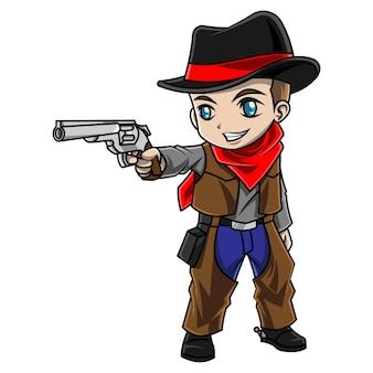 Ragazzo del fumetto che porta il costume da cowboy