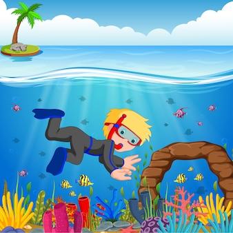 Ragazzo del fumetto che si tuffa nel mare