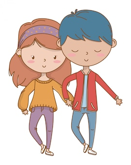 Ragazzo dell'adolescente e ragazza del fumetto