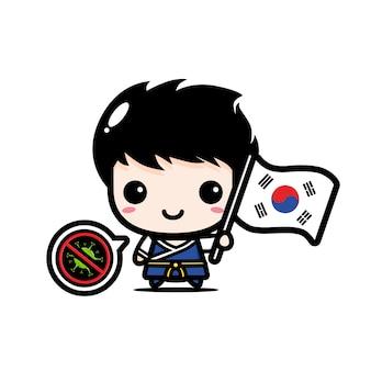 Ragazzo della corea del sud con la bandiera contro il virus