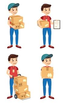 Ragazzo delle consegne con scatole di cartone e indossa un'uniforme