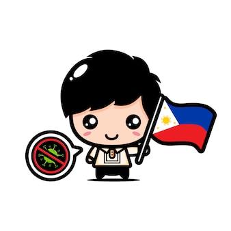 Ragazzo delle filippine con bandiera contro il virus