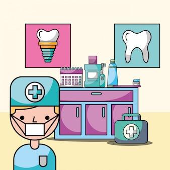 Ragazzo dentista in attrezzature sala di consultazione