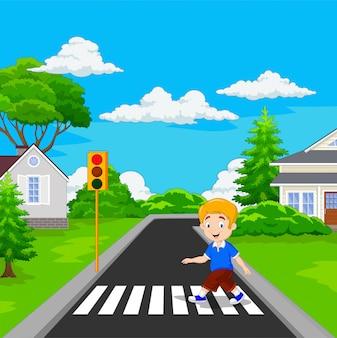 Ragazzo di cartone animato che attraversa l'attraversamento pedonale
