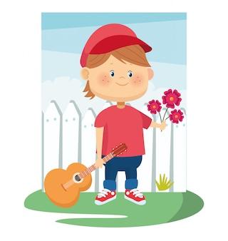 Ragazzo di cartone animato con fiori e chitarra su recinzione bianca