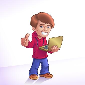 Ragazzo di cartone animato con il portatile