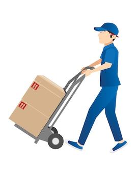 Ragazzo di consegna che invia scatole di pacchi