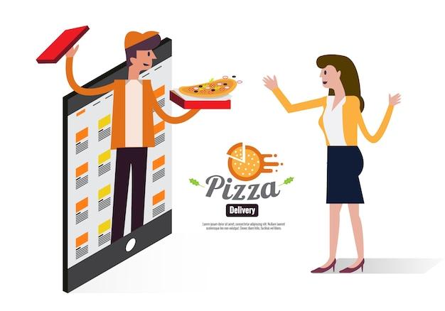 Ragazzo di consegna della pizza che passa scatola di pizza per una bella ragazza