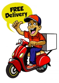 Ragazzo di consegna in sella a scooter