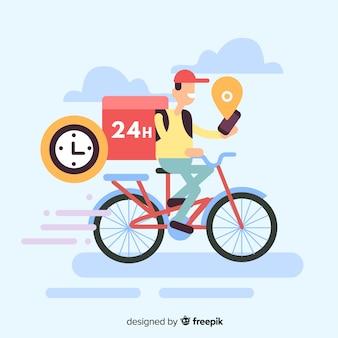 Ragazzo di consegna piatto sulla priorità bassa della bici