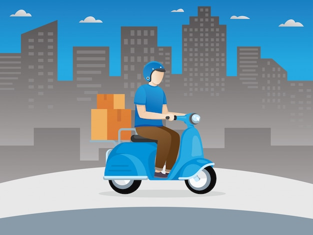 Ragazzo di consegna su scooter