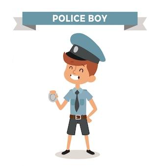 Ragazzo di polizia con segno isolato
