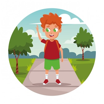 Ragazzo di scuola con cartone animato zaino