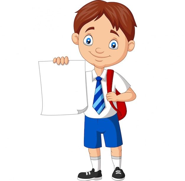 Ragazzo di scuola del fumetto in uniforme che tiene carta in bianco