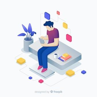 Ragazzo di seduta giovane isometrica utilizzando sfondo di dispositivi tecnologici