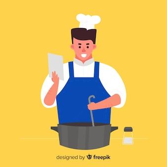 Ragazzo disegnato a mano che cucina sfondo