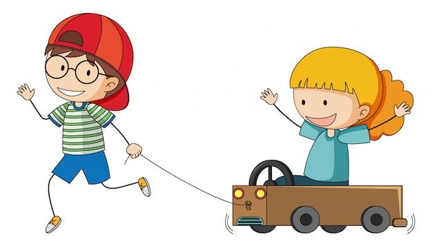 Ragazzo e grilt giocando a carrello