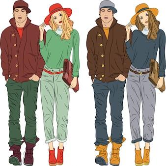 Ragazzo e ragazza alla moda di moda in abiti primaverili