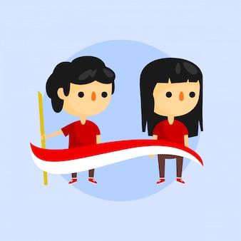 Ragazzo e ragazza charater indonesiano