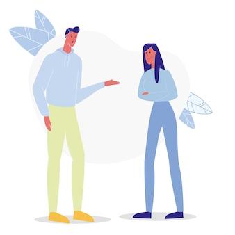 Ragazzo e ragazza che discutono illustrazione piana
