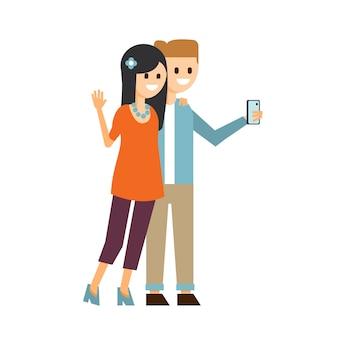 Ragazzo e ragazza che fanno un'illustrazione di selfie