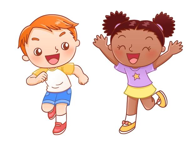 Ragazzo e ragazza che ridono e corrono insieme in stile disegnato a mano