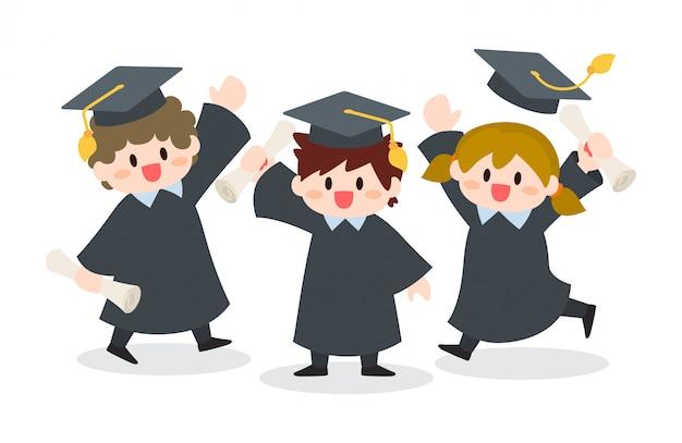 Ragazzo e ragazza che si laurea, illustrazione di cerimonia di graduazione