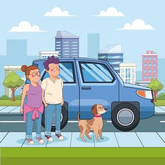 Ragazzo e ragazza del fumetto con un cane in strada