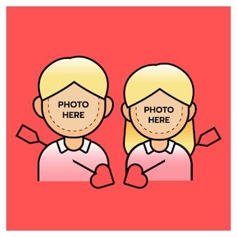 Ragazzo e ragazza delle coppie di photobooth con la freccia