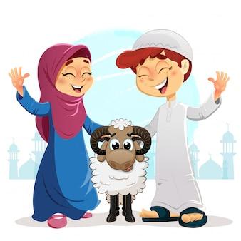 Ragazzo e ragazza musulmani felici con le pecore