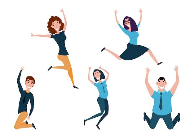 Ragazzo e ragazza saltando celebrando la vittoria