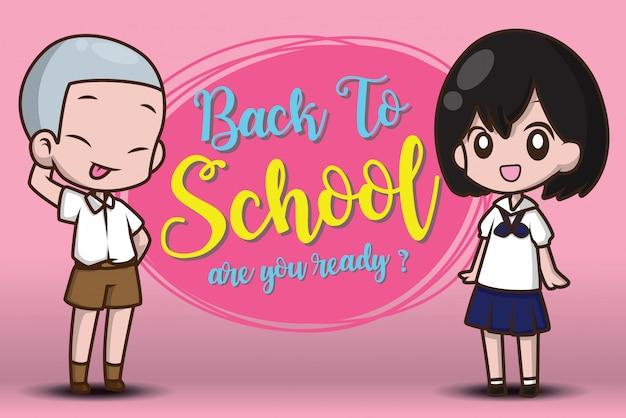 Ragazzo e ragazza su ritorno a scuola. siete pronti?