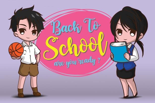 Ragazzo e ragazza su torna al modello di scuola.