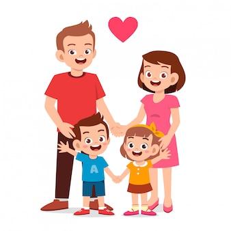 Ragazzo e ragazza svegli felici del bambino con la mamma e il papà