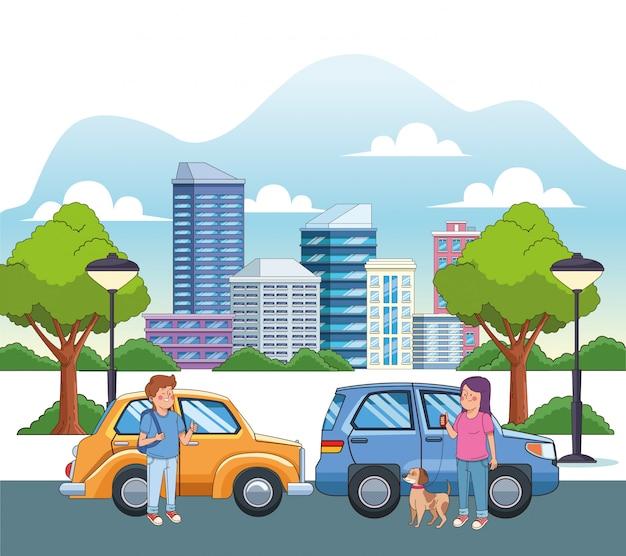 Ragazzo e ragazza teenager del fumetto con un cane nella via con le automobili
