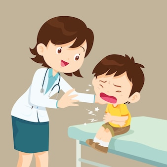 Ragazzo femminile del dottore comforting her crying patient