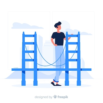 Ragazzo gigante blu con uno stile piano di un ponte