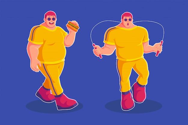 Ragazzo grasso che mangia hamburger e che gioca saltando la corda